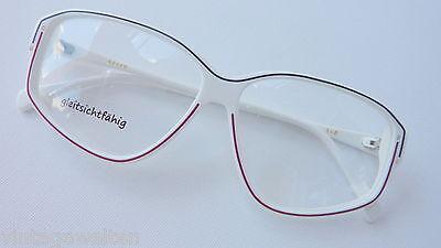 Gormanns weiße Vintagebrille mit Liniendecor große Glasform 55-13 NEU size M