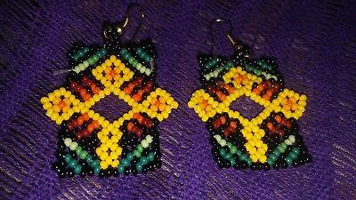 """Huichol Beaded Earrings Mexican Handmade Folk Art Peyote Flower Jewelry 2.75""""L"""
