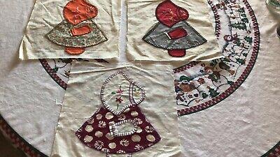 Vintage Hand-Sewn Sunbonnet Sue 3 quilt squares embroidered 12x13