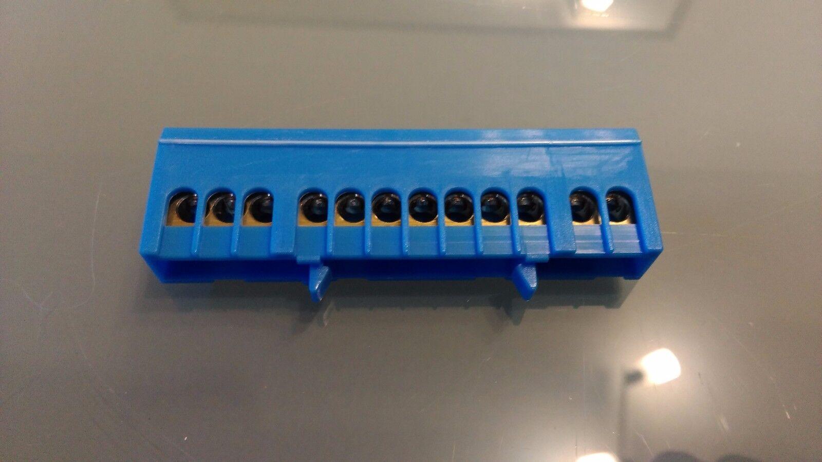 Sammelklemme , Klemmstein 12 Polig Blau, Klemme für Hutschiene 12 Polig Blau !