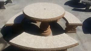 CONCRETE CEMENT ROUND PATIO TAN MOSAIC PICNIC TABLE W/ 3 BENCHES SEATS 6-9