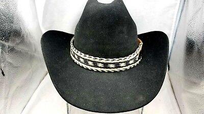 Hutband 2.9cm Pferdehaar und Leder Schwarz + Weiß Gewebt Western Cowboy Hut Band