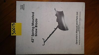 Ford New Holland 42 Spring Mounted Snow Blade Owners Operators Parts Manual