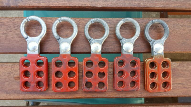 Lot Of 5 Red Industrial LOTO Lock Out Tag Out Lockout PadlockSafety Lock Hasps