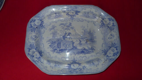 """Antique Blue & White Transferware Well and Tree Meat Platter  18"""" x 14"""""""
