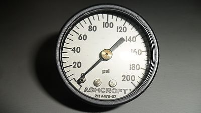 Ashcroft Air Pressure Gage Gauge Dial Indicator 0-200 Psi 18 Npt New