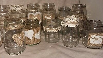 24 Wedding jars  Rustic/Traditional Style for Candles/Flowers Table Centrepiece - Rustic Centerpieces For Weddings