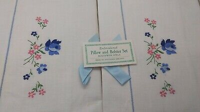 Vintage Boxed Embroided Pillow and Bolster Set Housewife Style Northern Ireland