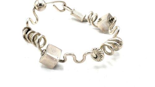 SIGNED Vtg Modernist Sterling Silver GEOMETRIC Wire Bangle Style Bracelet