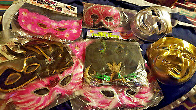 14PC MARDI GRAS MASKS PINK BLACK SEQUIN FEATHER MARA CRISTE MASQUERADE NW MANY