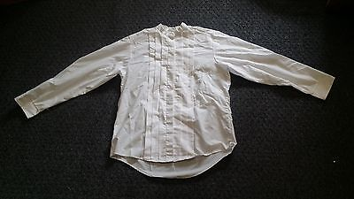 CLERGY NECKBAND SHIRT LADIES SZ 10 LONG SLEEVE CM ALMY POLY COTTON PLEATED FRONT