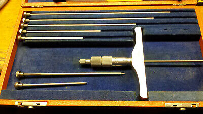 Brown Sharpe No. 608 0-6 Depth Micrometer Gage Set In Padded Case