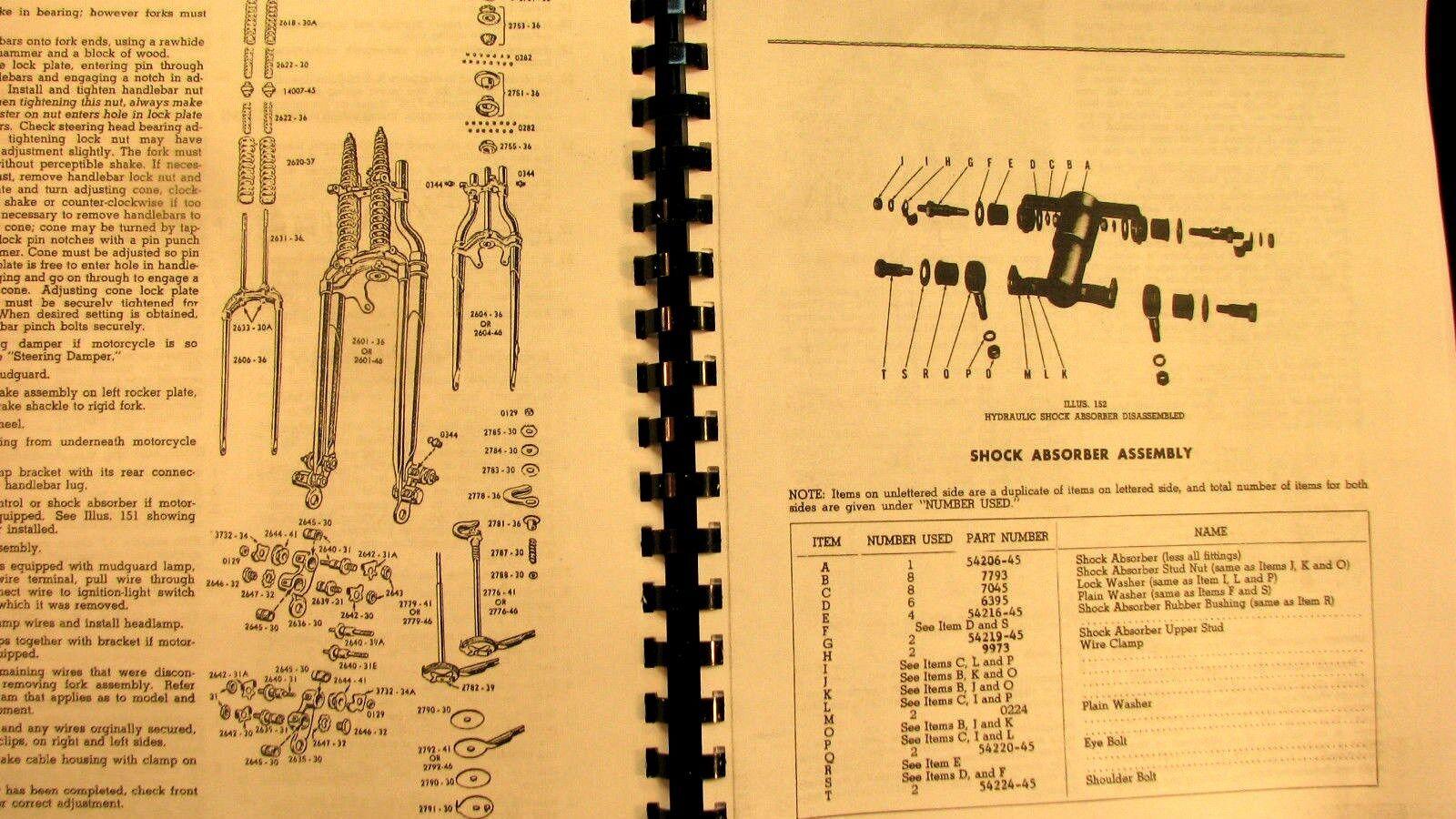 3 of 12 1948-1957 Panhead Harley-Davidson Rigid Service Manual Fully  Illustrated Free Sh