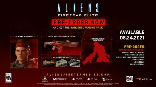 PS4 or PS5 - Aliens: Fireteam Elite - Hardened Marine Pack DLC, NO GAME