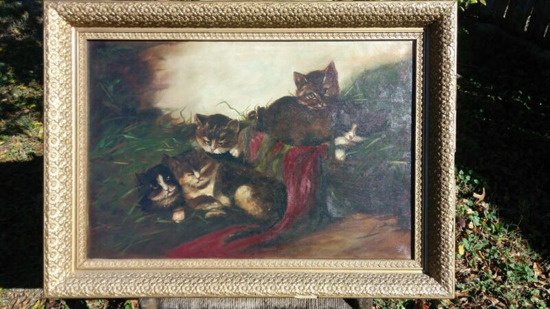 Antique Original Cat and Kittens Oil Painting On Canvas & Antique Floral Frame