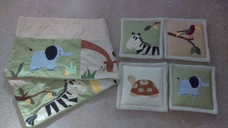 Kidsline Zanzibar Jungle Baby Animals Set Valance Curtain & Wall Decor Nursery