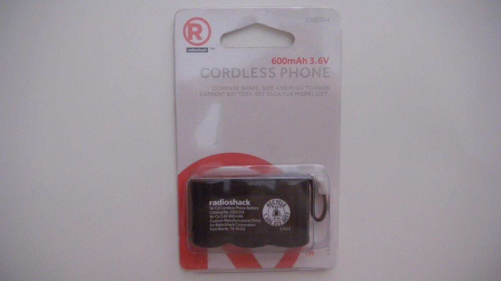 RadioShack Cordless Phone Battery  600mAh 3.6V Ni-Cd  230-23