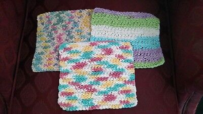 3 Handmade 100% Cotton Easter Themed Crocheted DishCloths aprox. 8 x 8