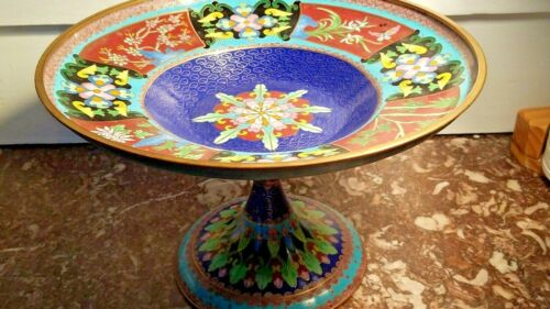Chinese Cloisonné Dish Compote Butterfly & Flowers Bamboo, Blue Turquoise Green