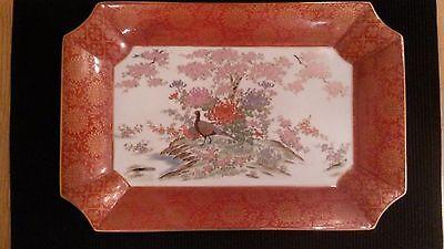 VINTAGE SHIBATA TOYO HANDPAINTED JAPANESE PORCELAIN PLATE PHEASANT RED GOLD TRIM
