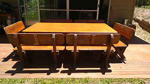 Outdoor 12 seat wooden table and chairs Wights Mountain Brisbane North West Preview