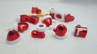 12 Miniature  Metallic Red Christmas Ornaments - Hat, Boot, Mitten & Mailbox Plastic Miniature Hats