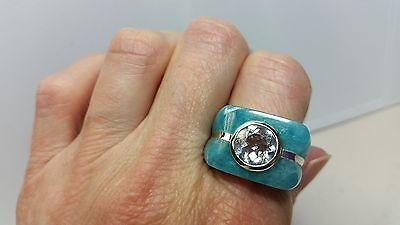 Genuine Carved Blue Jade & White Topaz Silver Ring Size 8