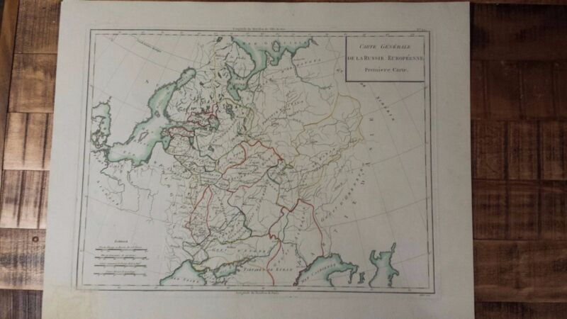 VERY NICE, ANTIQUE Hand Colored map of Russia - Pierre Francois Tardieu, c.1790