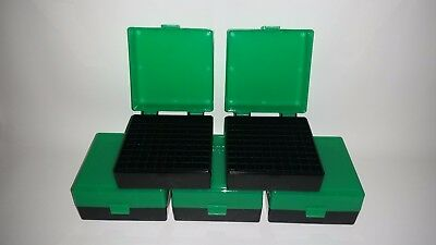 BERRY'S PLASTIC AMMO BOXES (5) GREEN 100 ROUND 223 / 5.56 - FREE SHIPPING