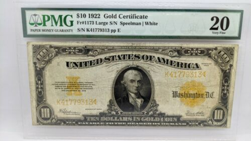 1922 $10 Gold Certificate - PMG 20 - Fr#1173 - Large Size Note