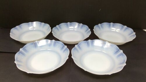 """Set of 5 Macbeth Evans Sweetheart Momax Opalescent 5 7/8"""" Round Cereal Bowls"""