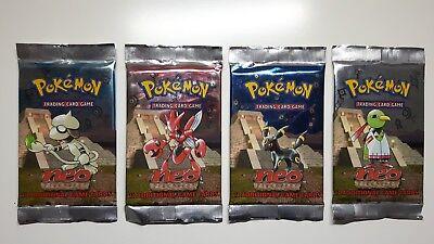 4x Pokemon Booster Tüte Neo DISCOVERY englisch Mega Rar selten Neu OVP