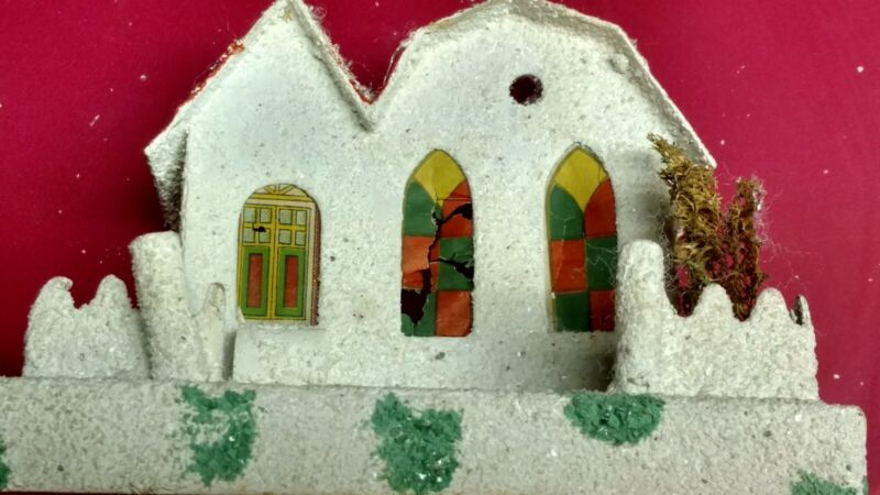 Vintage Christmas Village Cardboard House Stained Glass Church Windows PUTZ