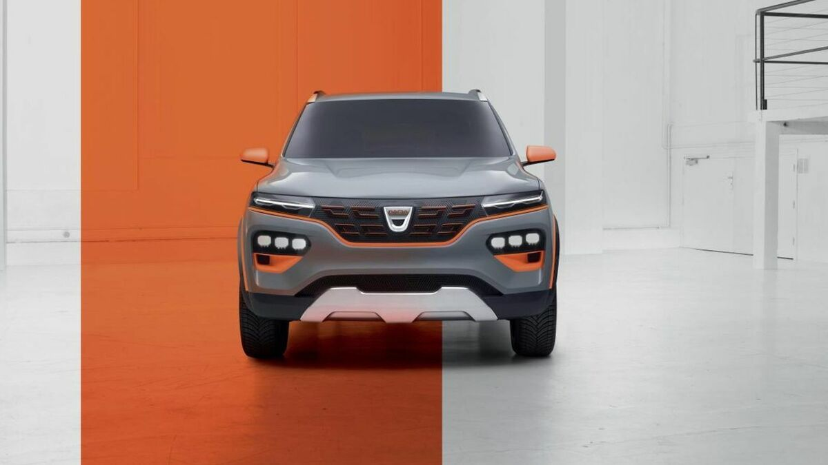 Front view of the Dacia Spring Electric, standing