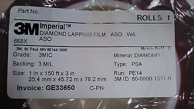 3m Diamond Lapping Film Roll 668x Psa 3 Mic 3 Mil 1in X 150ft Sticky Back