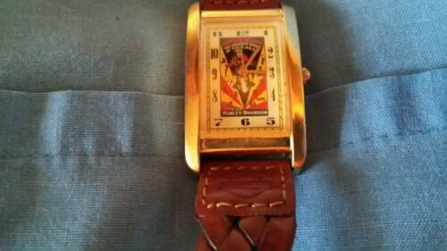 """harley davidson oil can """"greatest sport"""" wrist watch gift collectible. running"""