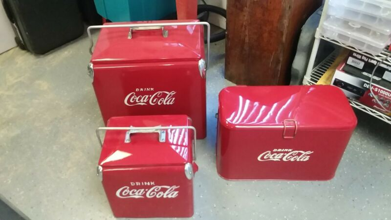 Reconditioned vintage Coco Cola Ice chest coolers