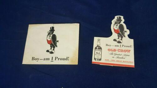 RARE Vintage Old Crow Bourbon Birth Announcement Boy Bottle Sleeve & Envelope