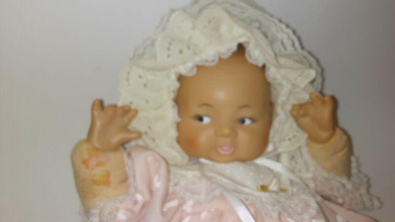 "16"" Vintage Vinyl/Cloth Baby Doll Plated Moulds Inc 1961 Lace Bonnet Pink Dress"