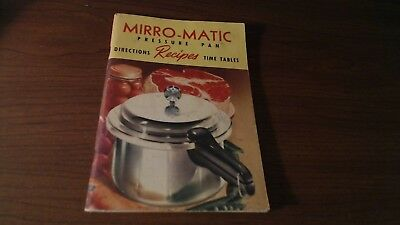 1954 MIRRO-MATIC PRESSURE PAN DIRECTIONS RECIPES TIME TABLES BOOKLET 67 PAGES