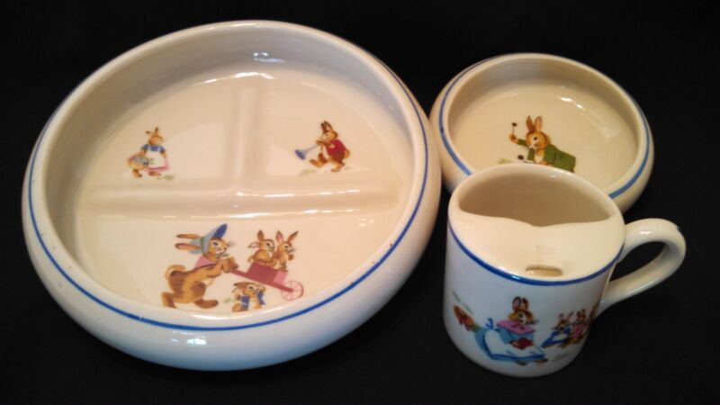 Tot Trainer Child's Dinner Set Beatrix Potter Porcelain by Dwight Morris Vintage