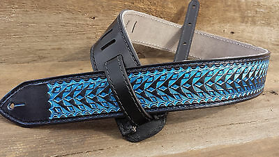 Leather Hand Tooled Guitar Strap ~ Electric Blue Razor Design ()