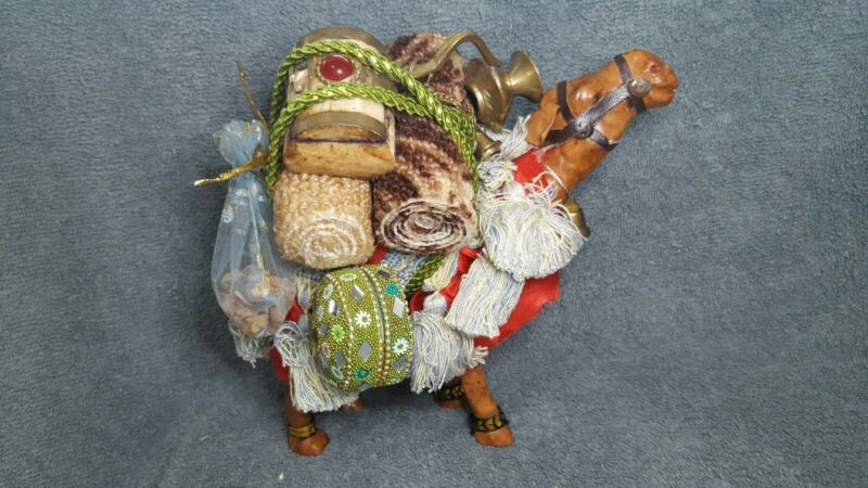 Camel Safari Animal Made with Paper Mache & Leather, Cloth & Metal Pack Items