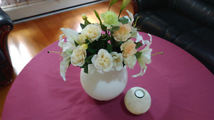 White vase with silk flowers