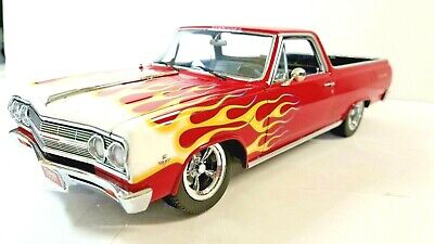 EXACT DETAIL 1965 CHEVY EL CAMINO 327 RED W/ FLAMES pickup 1/18 DIECAST CAR NEW