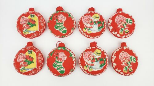 8 Vintage Puffy Quilted Handmade Strawberry Shortcake Christmas Ornaments
