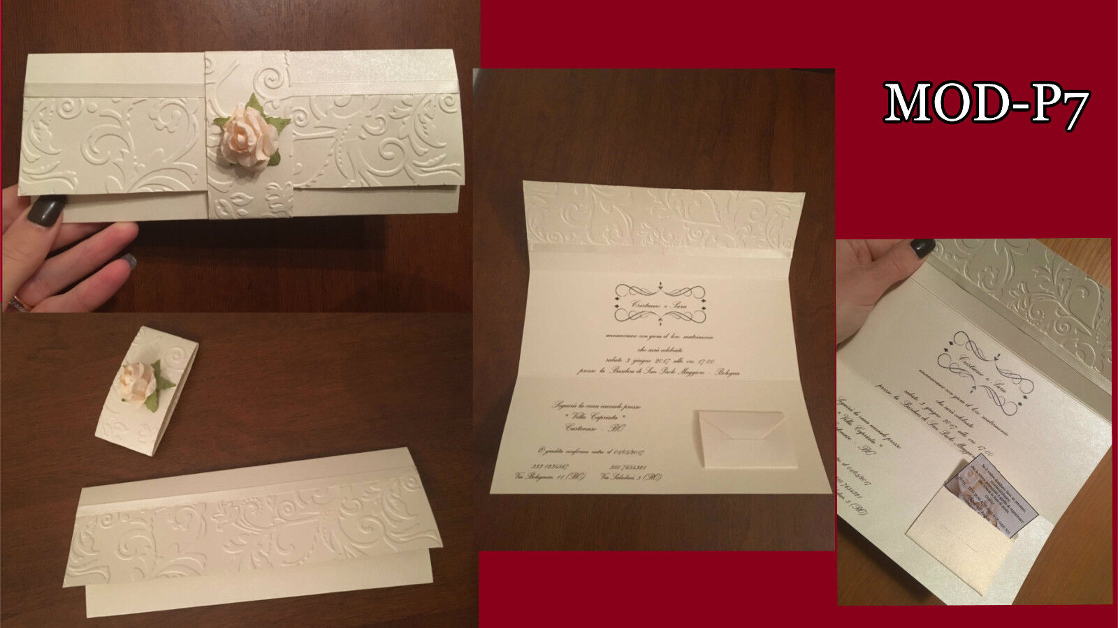 Partecipazioni Matrimonio inviti Nozze, fatte a mano, MOD-P7 eleganti fiore raso