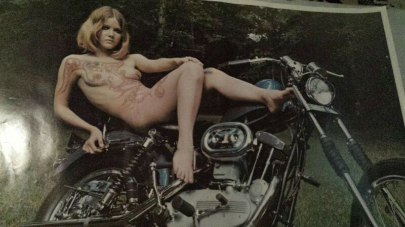 Vintage Original 1970 Harley Davidson  Poster , girl on harley Davidson chopper