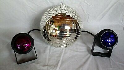 Mirror Ball lights and mirror ball; Two Par 36 Can Lights with color lenses 36 Mirror Ball