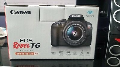 Canon Rebel T6 dSLR camera kit, 18MP, w/18-55mm lens (NEW)